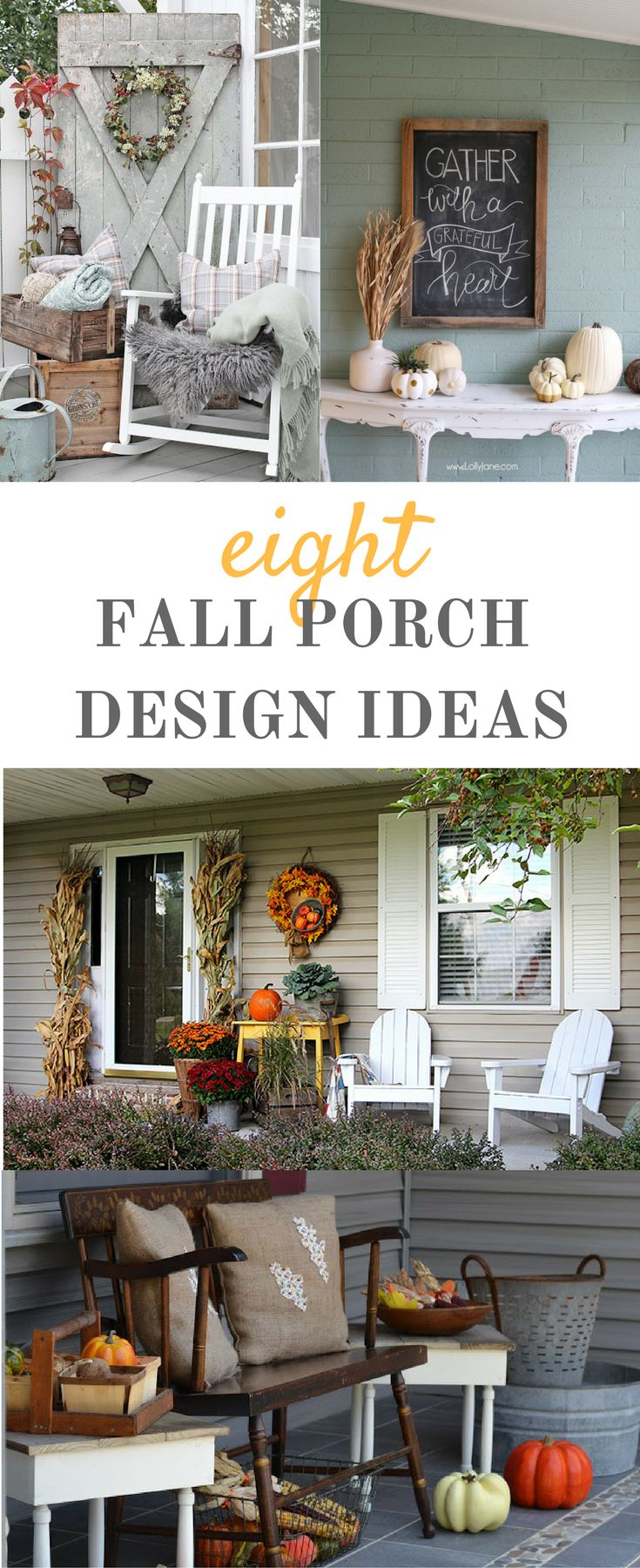 Fall porch designis our topic for this Creativity & Inspiration Tuesday. It's time to get your porches all set up with fall decor!  Eight fabulous designs to feed your creative juices.  | DIY | ideas | rustic | white pumpkins | wreaths | crates | chalkb