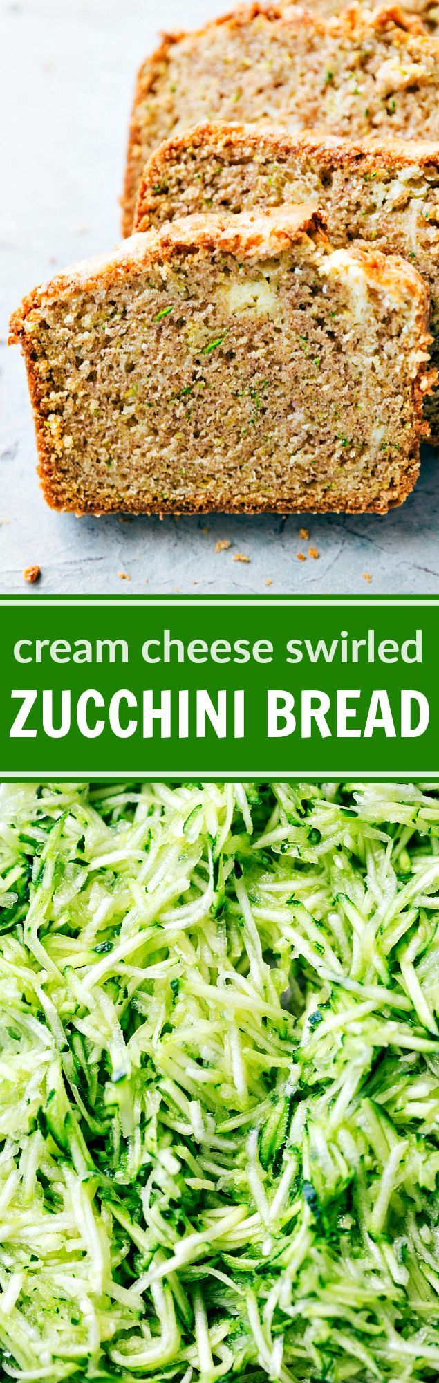 "A deliciously thick swirl of cream cheese inside the best ever zucchini bread. This ""secret"" family recipe is one you'll want to use over and over again! via chelseasmessyapron.com"