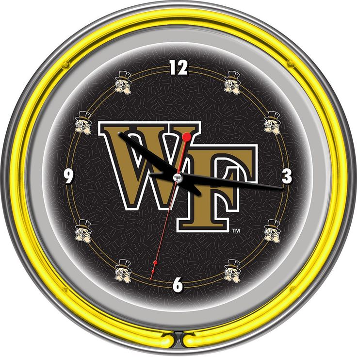 Wake Forest Demon Deacons Chrome Double-Ring Neon Wall Clock, Multicolor