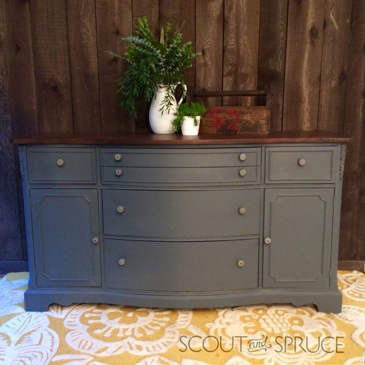 Gray Buffet Painted In Ash By Fusion Mineral Paint By Scout And Spruce Refurbished Furniture