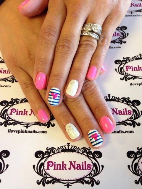 Stripe Heart Nails