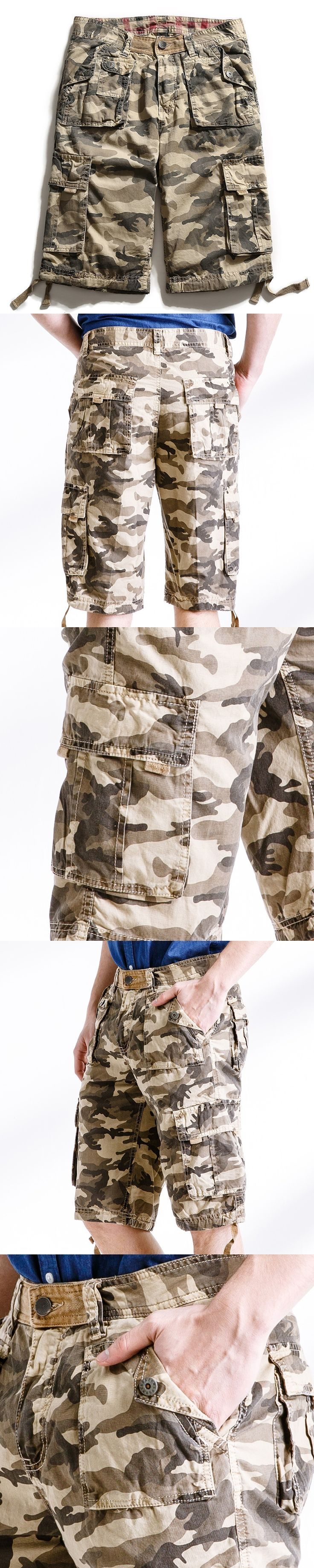 2017 Men Military Shorts Summer Mens Camouflage Army Cargo Shorts Workout Shorts Homme Casual Bermuda Trousers size 38 No belts