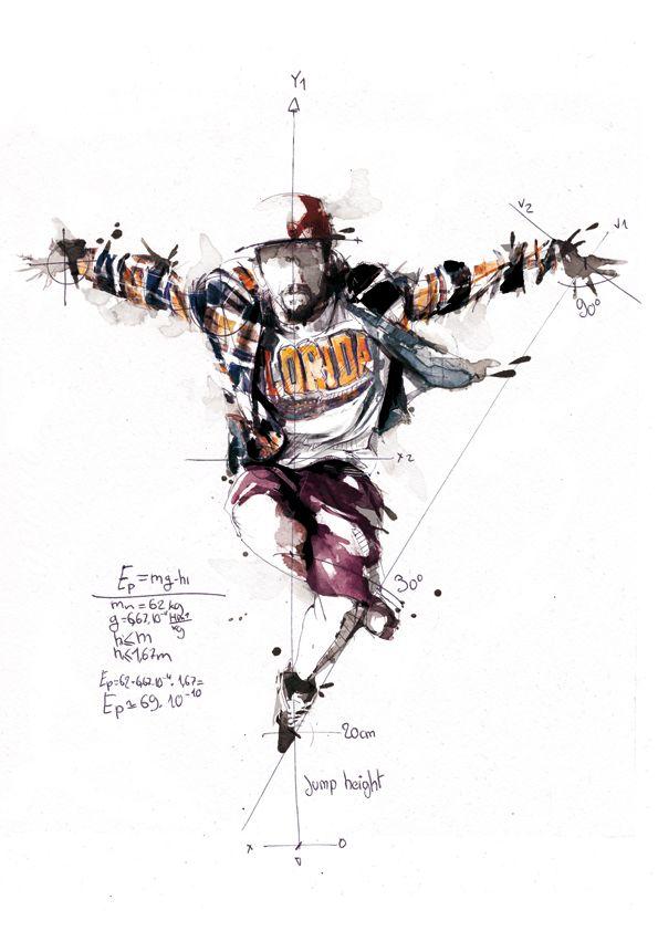 Break Dance - Volnorez by Florian NICOLLE, via Behance. Sketches around the break dance for the new identity of Volnorez school.