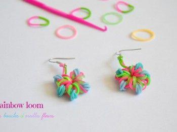 DIY : Fleurs en élastiques / boucles d'oreilles #rainbowloom