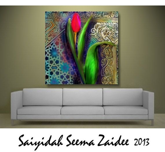 Checkout this amazing product ART,#Spring,#Floral Art,#Tulip,Arabesque,Large #HomeDecor,Canvas Print Reproduction - Modern Wall Decor -,$180