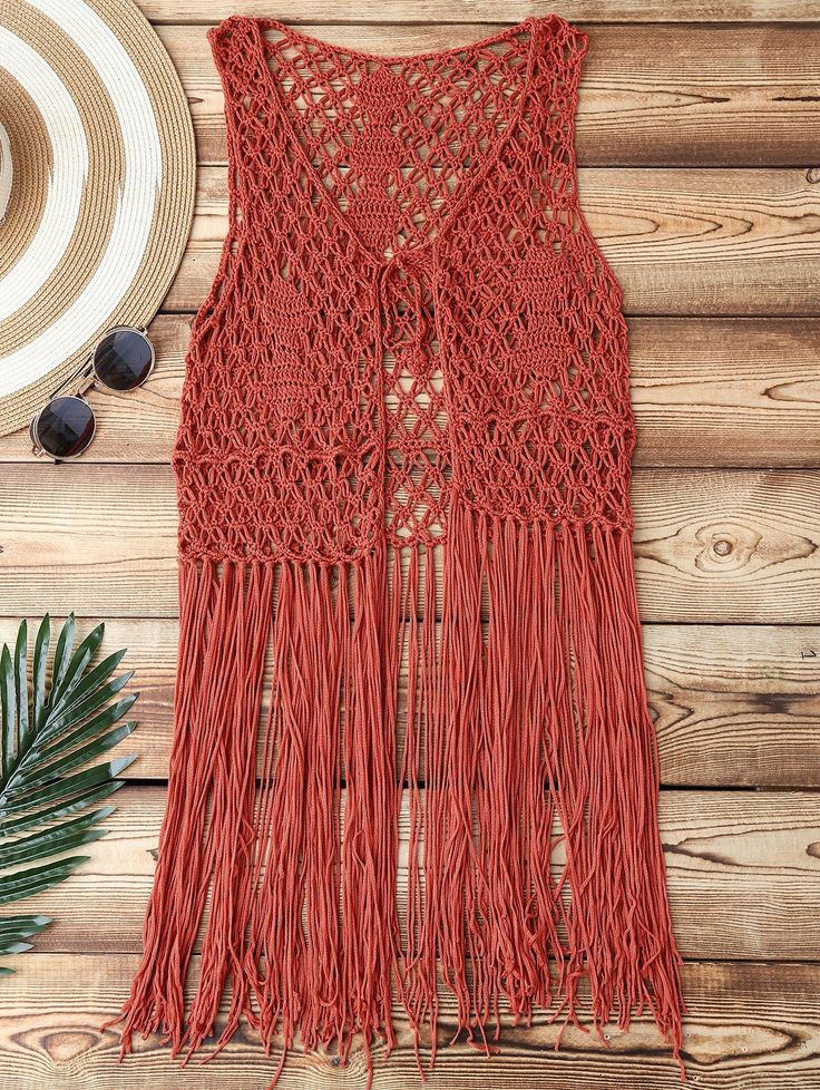 $22.49 Open Front Fringes Crochet Cover Up - BRICK RED ONE SIZE