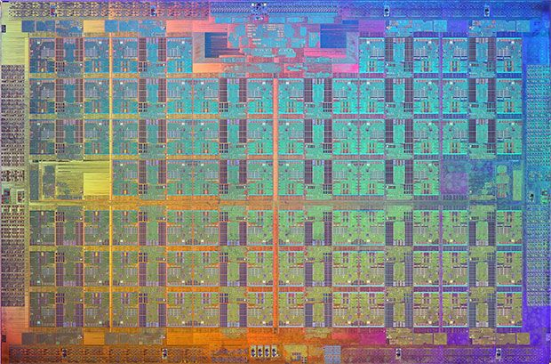This is what a 72-core CPU looks like. So hello to the Intel Xeon Phi Die.
