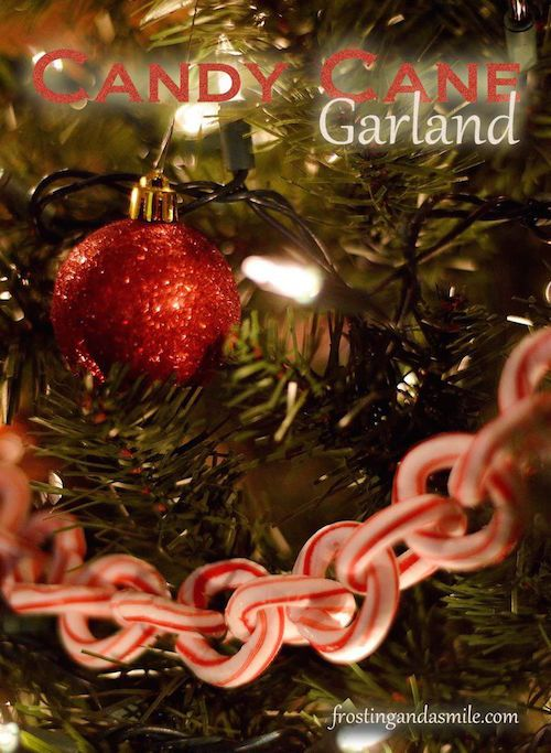 How to make a candy cane garland with mini candy canes! I had no idea that you could melt them and make shapes. This candy cane garland is gorgeous.