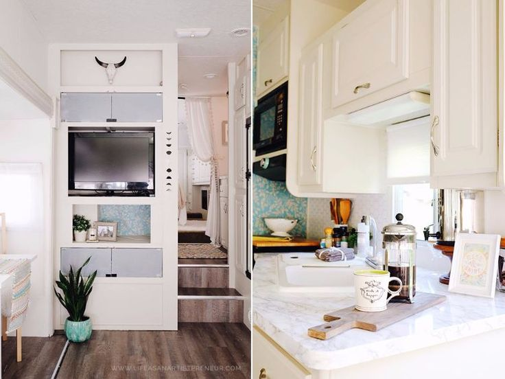 Take a look at how this 'artistpreneur' performed a complete overhaul on this drab fifth wheel.
