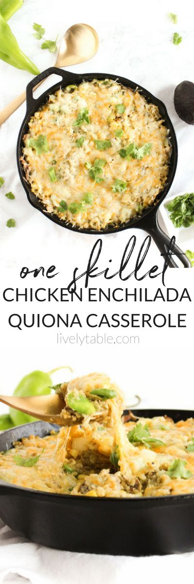 One Skillet Chicken Enchilada Quinoa Bake is an easy,healthy and delicious meal with Southwestern flair! Use leftover chicken and quinoa to make this 7-ingredient dish even easier for a busy weeknight. #glutenfree #weeknightmeals #onedish #dinner   via livelytable.com