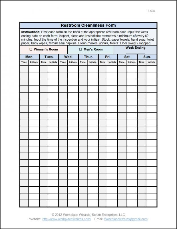 Restaurant Inventory Sheet Bathroom Cleaning Checklist Cleaning