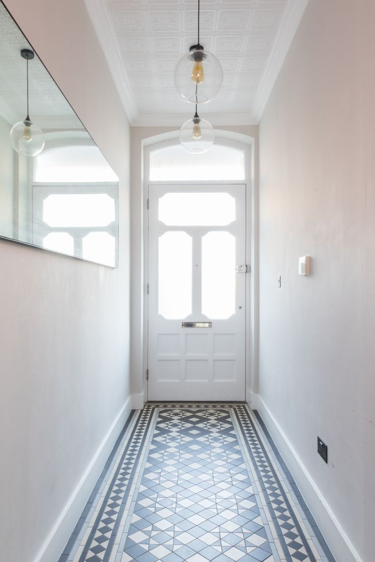 hallway, victorian tiles, victorian hallway tiles, antique mirror, pendant lights, wallpaper ceiling, ceiling tiles, conforth white, industrial pendants, industrial lighting