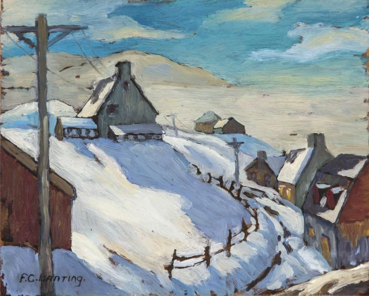 Sir Frederick Banting - Village In Winter 8 1/2 x 10 5/8 oil on panel
