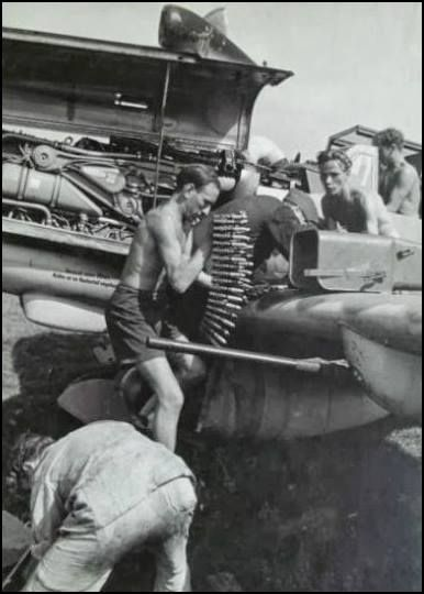 Armoures loading ammo to Messerschmitt Bf 109G-6/R6 of 10./JG 11 Photo: falkeeins.blogspot.com