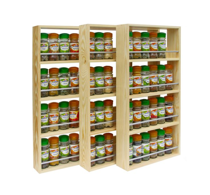 Solid Pine Spice Rack Contemporary Modern Style 4 Shelves Freestanding Or  Wall Mounted Kitchen Storage (