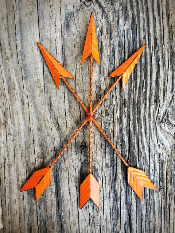 Bright Tangerine Orange Metal Arrow Wall Art - Tribal Bohemian Shabby Boho Chic - Beach Weathered