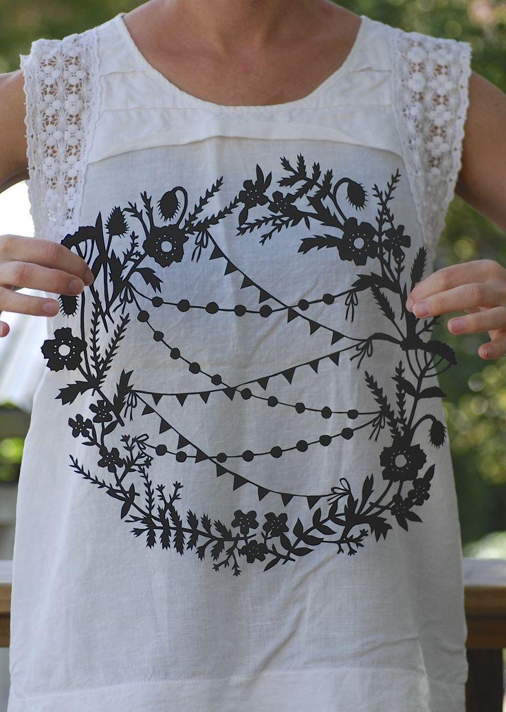 Thursday's Child custom papercut - floral wreath