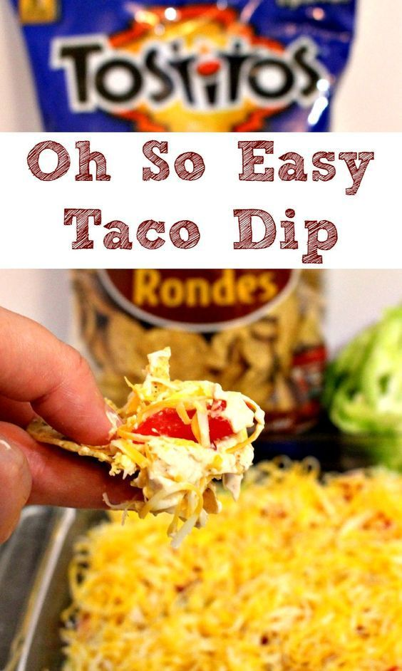 "Six ingredient Oh So Easy Taco Dip  Here's the recipe: Mix 1 - 8 oz pkg cream cheese, 1 - 8 oz pkg sour cream and 2tbsp taco seasoning.  Spread in a 9""x13"" dish.  Top with shredded lettuce, shredded cheese, & chopped tomatoes.  Serve with Tostitos chips. We like Tostitos® Scoops! Tortilla Chips or Tostitos® Bit Size Rounds Tortilla Chips."