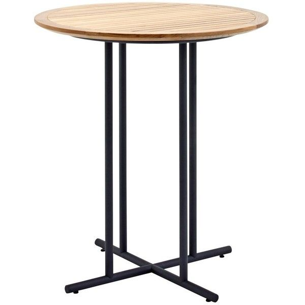 Gloster Whirl Round Bar Table 90 Cm   Teak   Black ($1,790) ❤ Liked