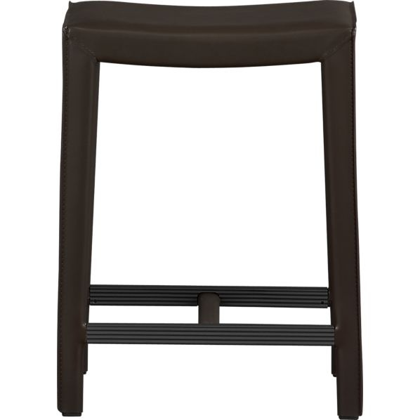 Folio 24 Quot Chocolate Leather Backless Counter Stool