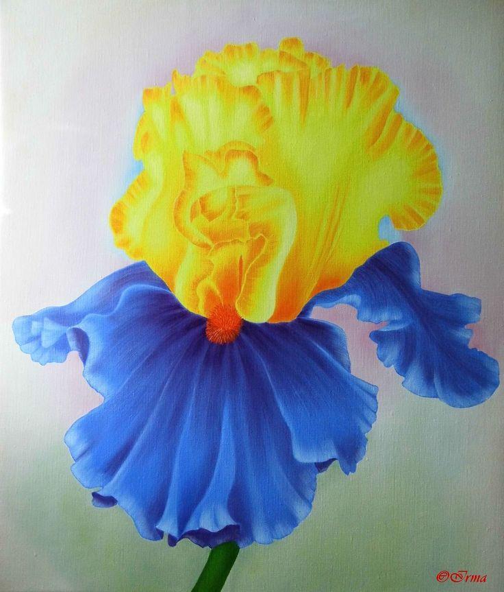 IRMA ENDREY: Iris painting oil on canvas