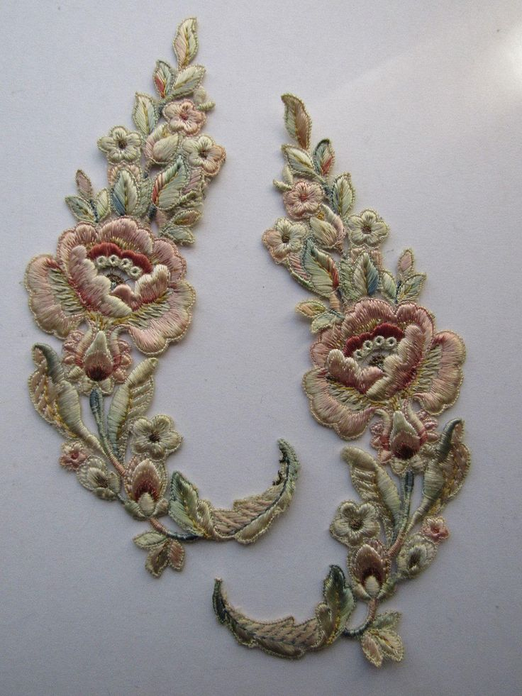PR Antique Hand Stitched French Silky Floral Appliqués w/Metallic Detail-Never…