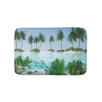 Tropical Paradise Island Bath Mat - home gifts ideas decor special unique custom individual customized individualized