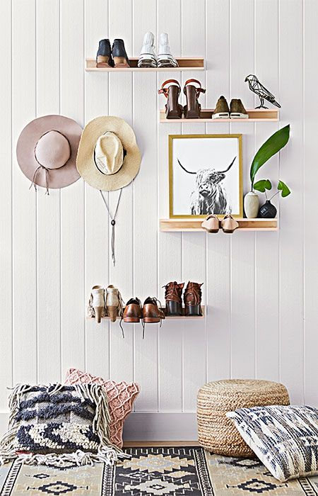 easy to make these wallmounted shoe organizers put your favorite footwear on display