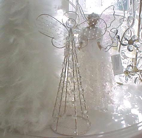 SHABBY CRYSTAL PRISMS CHIC ANGEL CHRISTMAS TREE TOPPER