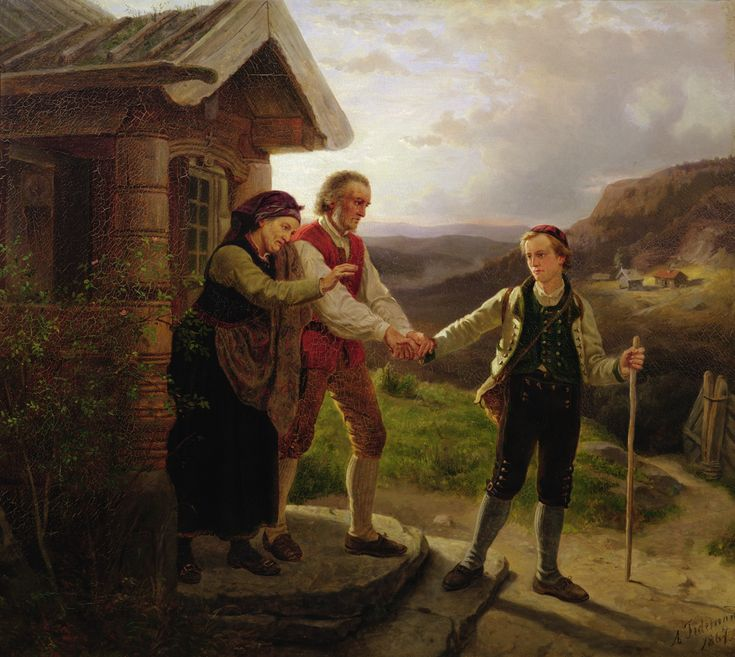 Adolph Tidemand - Den yngste sønnen farvel. 1867. jpg (2000×1788)