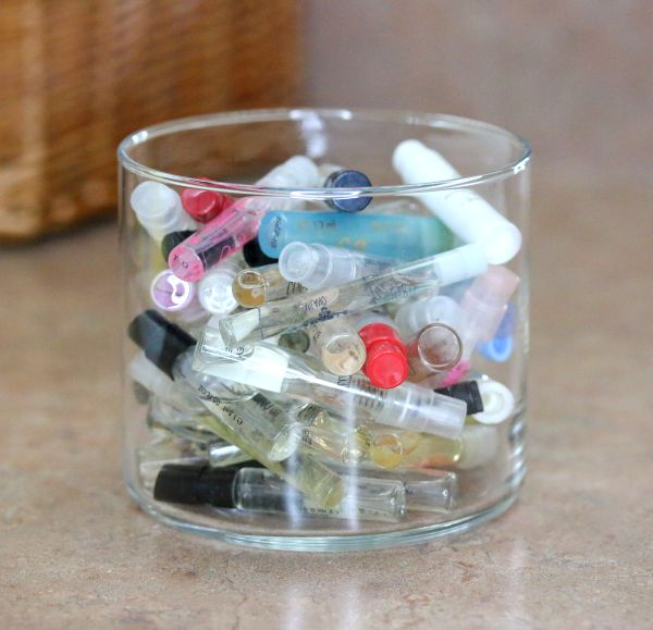 Put out a perfume sample jar for your guests to enjoy