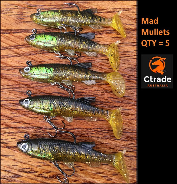 x 5 Vibe lure soft plastics 80mm Mad Mullet paddle tail soft vibe lures rigged