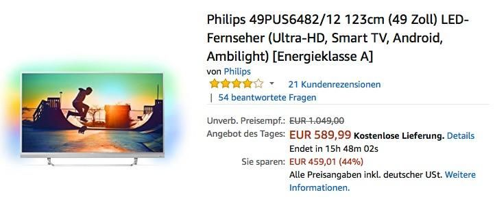 Philips 49pus6482 12 123cm 49 Zoll Led Fernseher Ultra Hd Smart Tv Android Ambilight Tv Entertainment Led Fernseher Fernseher Android