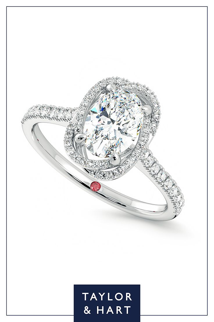 Be bold and daring with this dazzling  diamond pave engagement ring.The Entwine combines an oval diamond centre pave diamond halo set in platinum. Why not repin to your own inspiration board? #engagement #engagementring #Pave #diamond #platinum