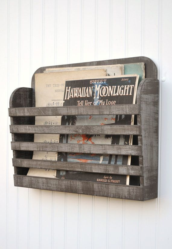 Distressed Magazine File Menu Holder Rustic Dark Gray Grey Brown Graphite Vintage Design Storage Organizer Shabby Antiqued on Etsy, $38.00