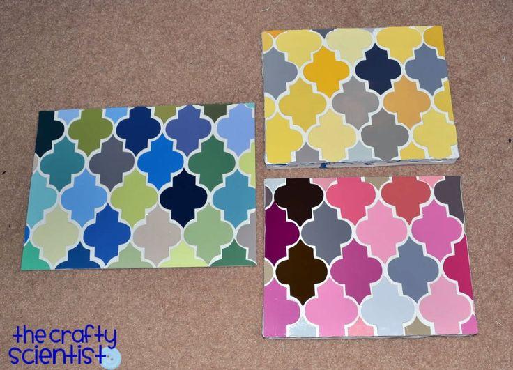 Paint Chip Quatrefoil Art   http://www.thecraftyscientist.com/2011/10/paint-chip-quatrefoil-art.html