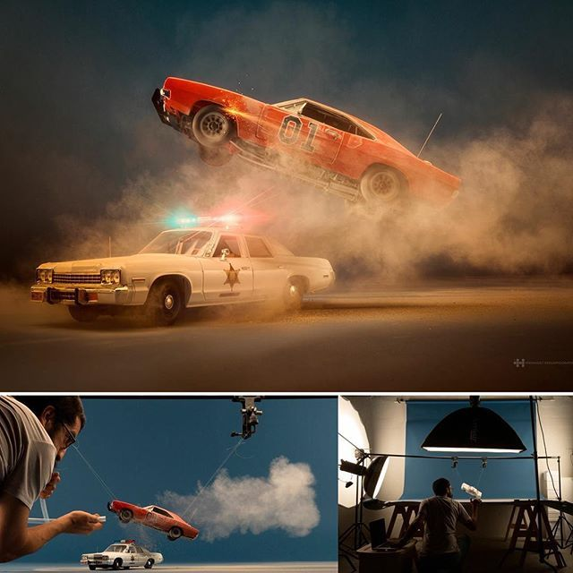 """Complete project in Behance with bts video: https://www.behance.net/gallery/47111045/The-Dukes  Famous Movie Cars is my first personal project of the year, it's a tribute to my Childhood to all  those cars of TV series and movies that make me happy in my youth.  The first one of this series is """"Dukes of Hazzard"""", Do you remember them?… The General Lee and the Iconic Police car of Sheriff Rosco P. Coltrane were shot at studio doing the dust effects on camera in multiple shots.  The Photos are…"""