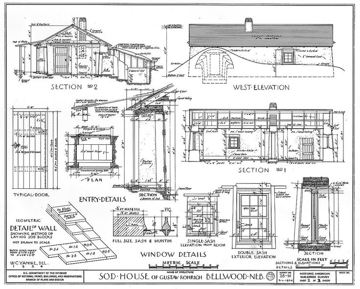 Detail from measured drawing of details of a sod house for Online architecture drawing