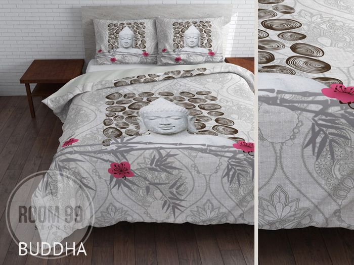 Luxusné obliečky sivej farby s BUDDHOM a ružovými kvetmi
