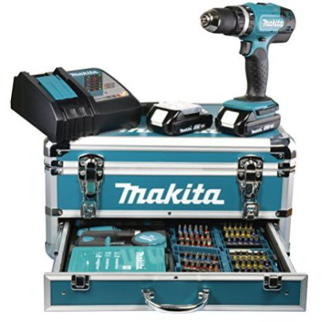 Makita DHP453RYX2 Perceuse Visseuse à Percussion 2 x 18 V 3 Ah + 96 Accessoires