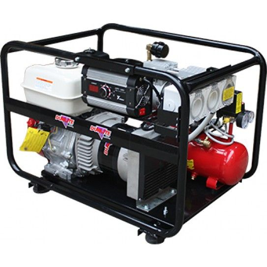 4.4 kVA welder generator portable workstation powered by Honda petrol engine. Featuring RCD, 160 Amp, DC Inverter Welder and twin cylinder oil free Air Compressor.