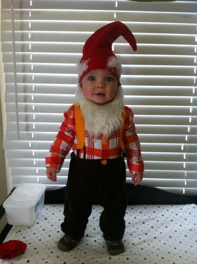 Garden Gnome halloween costume! This is the costume I have for Julian this year. My Mom got him a power ranger costume. Guess which one he will want to wear?