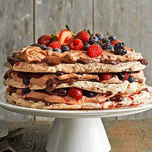 Boccone Dolce Meringue with Chocolate Cream and Berries There's always room for dessert when the option is as decadent as this classic Italian meringue.
