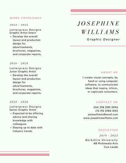 Pink Minimalist Corporate Resume WORK Pinterest Resume, Resume