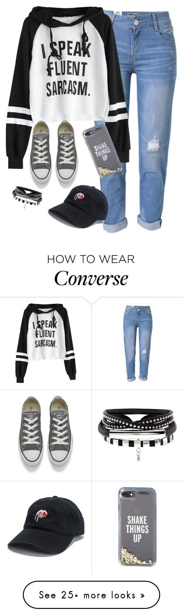 """Very cute, yet simple 6"" by lollypopz951 on Polyvore featuring WithChic, Converse and Kate Spade"