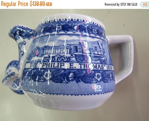Baltimore And Ohio Railroad Vintage Blue & White Schenango China  Teapot Circa 1930's by NewBernEmporium on Etsy
