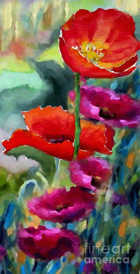 Poppies In Watercolor Painting by Rafael Salazar