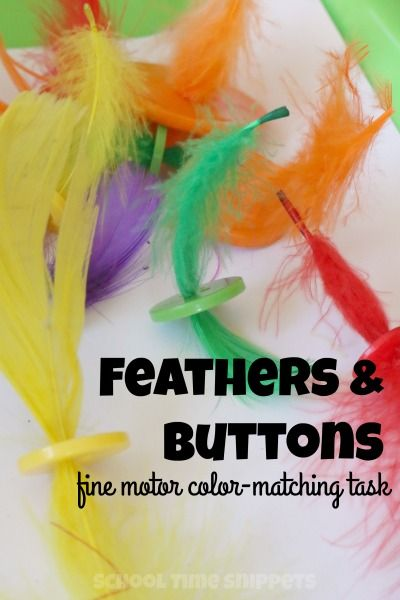 School Time Snippets: Simple fine motor activity for your preschooler using feathers and buttons! Pinned by SOS Inc. Resources. Follow all our boards at pinterest.com/sostherapy/ for therapy resources.
