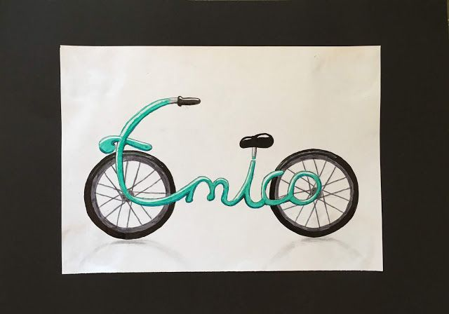 Personalized Name Bikes Art Lessons Elementary Art Lessons