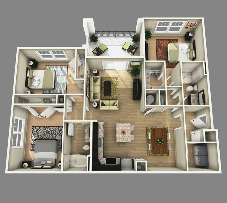 25 More 3 Bedroom 3d Floor Plans: 852 Best Plantas 3D, Arquitetura Images On Pinterest